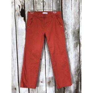 Ann Taylor LOFT Coral Red Straight Leg Crop Jeans